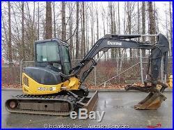 2006 John Deere 50D Mini Excavator Enclosed Cab Hydraulic Thumb Backfill Blade