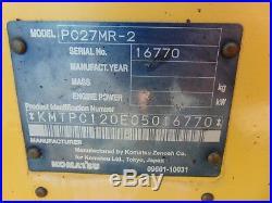 2007 Komatsu Pc27-mr 2 Mini Excavator Yanmar Diesel 6,600 Lbs All Serviced
