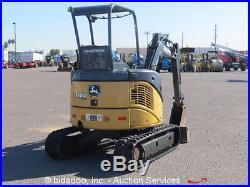 2008 John Deere 27D Hydraulic Mini Excavator Aux Hyd Diesel Backfill Blade Q/C