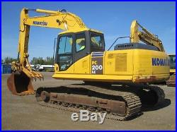 2008 Komatsu PC200 LC-7 Excavator, 48 GP bucket, Mechanical Thumb, Low Hours