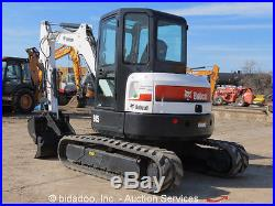 2011 Bobcat E45 Mini Excavator Rubber Tracks Cab Backhoe Hydraulic Thumb