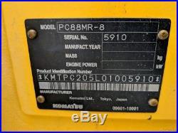 2012 Komatsu PC88MR-8 Excavator Cold AC, Radio, Aux Hydraulics, 2 buckets