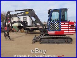 2012 Volvo EC55C Mini Excavator Track Hoe Cab A/C Dozer Blade Aux Hyd bidadoo