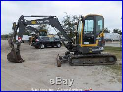2012 Volvo ECR58 Mini Excavator Backhoe A/C Cab Rubber Backfill Blade bidadoo