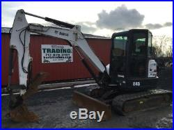 2013 Bobcat E45 Mini Excavator with Cab & Hydraulic Thumb One Owner