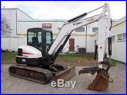 2013 Bobcat E55 Excavator, Cab, Ac/heat, Hyd Thumb, 2 Spd, 49hp Diesel, X-change