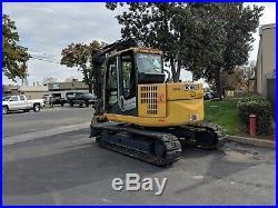 2013 John Deere 75D Midi Excavator CAB A/C, Street PADS, Thumb, Aux Hyd Nice