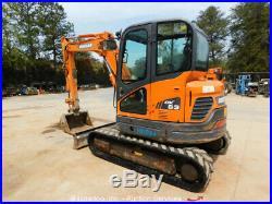 2014 Doosan DX63-3 Mini Excavator Rubber Tracks Cab Heat A/C Swing Boom bidadoo