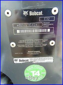 2015 BOBCAT E-32 MINI EXCAVATOR With HYDRAULIC THUMB KEYLESS SECURITY 25 HP