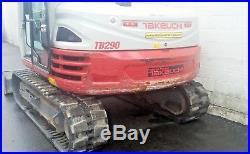 2016 Takeuchi TB290 Mini Excavator Digger 861 Hrs Enclosed Cab Heat A/C