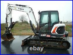 2018 Bobcat E85 Excavator, Hyd Thumb, 2 Spd, Cab, Heat/ac, 569 Hrs, 65.9 HP