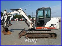 Bobcat 337 Mini Excavator, Cab, Heat/ac, 2 Speed, Hyd Thumb, 48hp Pre Emissions