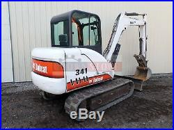 Bobcat 341d Mini Excavator, Cab, Heat/ac, 2spd, Aux Hdyraulics, Thb, Pre Emission