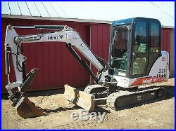 Bobcat Mini Excavator 331 Only 1336 Hours Cab Hyd Thumb Very Clean Ready 2 Work