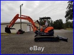 Kubota U45 Mini Excavator, 42 HP Zero Tail Swing, Thumb, Angle Blade, 493 Hours