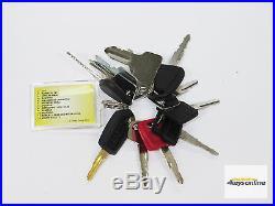 Master Key Set (12 keys) for Heavy Plant incl Caterpillar Komatsu Hitachi etc